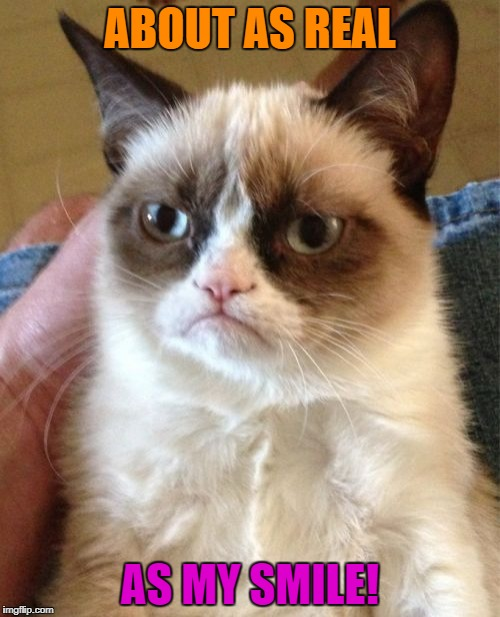 Grumpy Cat Meme | ABOUT AS REAL AS MY SMILE! | image tagged in memes,grumpy cat | made w/ Imgflip meme maker