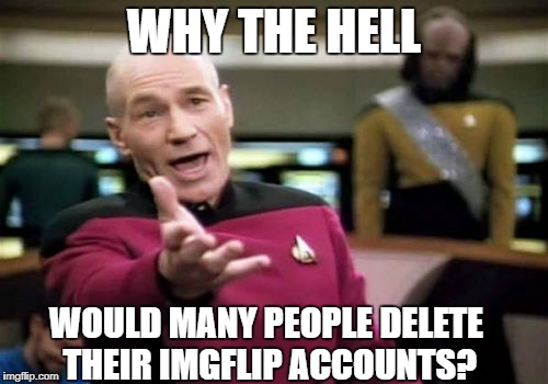 Seriously, why? | WHY THE HELL WOULD MANY PEOPLE DELETE THEIR IMGFLIP ACCOUNTS? | image tagged in memes,picard wtf,deleted,deleted accounts,imgflip,imgflip users | made w/ Imgflip meme maker