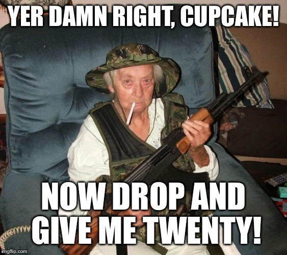 YER DAMN RIGHT, CUPCAKE! NOW DROP AND GIVE ME TWENTY! | made w/ Imgflip meme maker