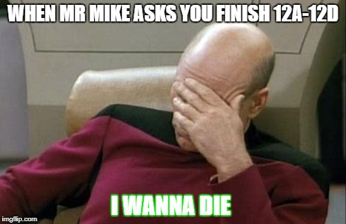 Captain Picard Facepalm Meme | WHEN MR MIKE ASKS YOU FINISH 12A-12D I WANNA DIE | image tagged in memes,captain picard facepalm | made w/ Imgflip meme maker