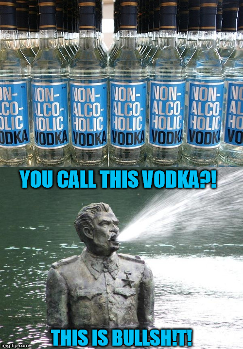 He does not approve | YOU CALL THIS VODKA?! THIS IS BULLSH!T! | image tagged in vodka,stalin,shitty | made w/ Imgflip meme maker