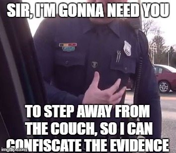 SIR, I'M GONNA NEED YOU TO STEP AWAY FROM THE COUCH, SO I CAN CONFISCATE THE EVIDENCE | made w/ Imgflip meme maker
