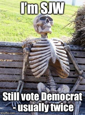 Waiting Skeleton Meme | I'm SJW Still vote Democrat - usually twice | image tagged in memes,waiting skeleton | made w/ Imgflip meme maker