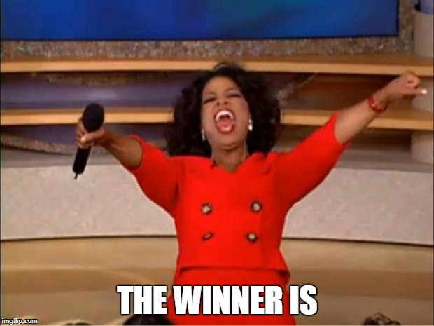 Oprah You Get A Meme | THE WINNER IS | image tagged in memes,oprah you get a | made w/ Imgflip meme maker