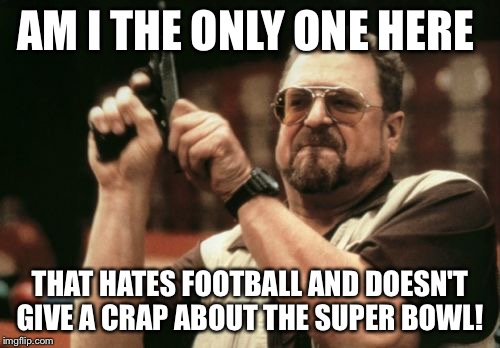 Am I The Only One Around Here Meme | AM I THE ONLY ONE HERE THAT HATES FOOTBALL AND DOESN'T GIVE A CRAP ABOUT THE SUPER BOWL! | image tagged in memes,am i the only one around here | made w/ Imgflip meme maker