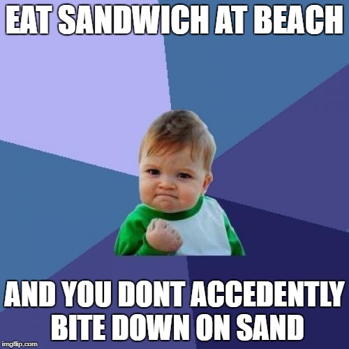 Success Kid Meme | EAT SANDWICH AT BEACH AND YOU DONT ACCEDENTLY BITE DOWN ON SAND | image tagged in memes,success kid | made w/ Imgflip meme maker