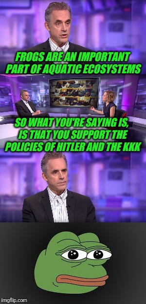 Dr. Jordan Peterson and Cathy Newman | FROGS ARE AN IMPORTANT PART OF AQUATIC ECOSYSTEMS SO WHAT YOU'RE SAYING IS, IS THAT YOU SUPPORT THE POLICIES OF HITLER AND THE KKK | image tagged in pepe,frog,jordan peterson vs feminist interviewer,feminism | made w/ Imgflip meme maker