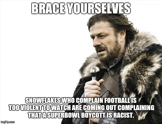 Brace Yourselves X is Coming Meme | BRACE YOURSELVES SNOWFLAKES WHO COMPLAIN FOOTBALL IS TOO VIOLENT TO WATCH ARE COMING OUT COMPLAINING THAT A SUPERBOWL BOYCOTT IS RACIST. | image tagged in memes,brace yourselves x is coming,superbowl | made w/ Imgflip meme maker