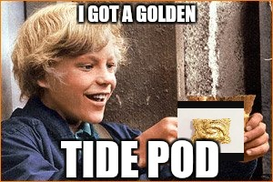 I got the Gold | I GOT A GOLDEN TIDE POD | image tagged in the golden ticket,memes,funny,batman slapping robin,winners,goldmember | made w/ Imgflip meme maker