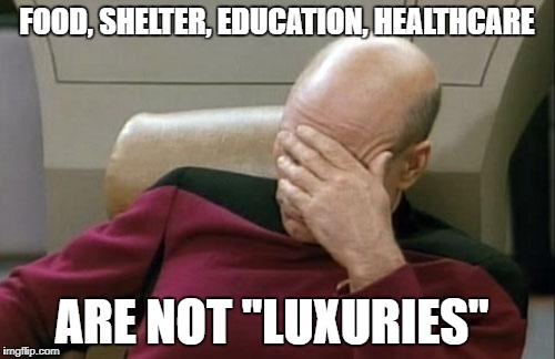 "Captain Picard Facepalm Meme | FOOD, SHELTER, EDUCATION, HEALTHCARE ARE NOT ""LUXURIES"" 