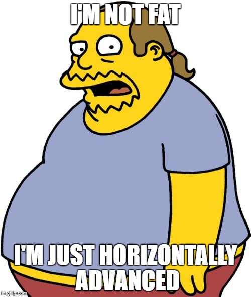 Comic Book Guy | I'M NOT FAT I'M JUST HORIZONTALLY ADVANCED | image tagged in memes,comic book guy | made w/ Imgflip meme maker