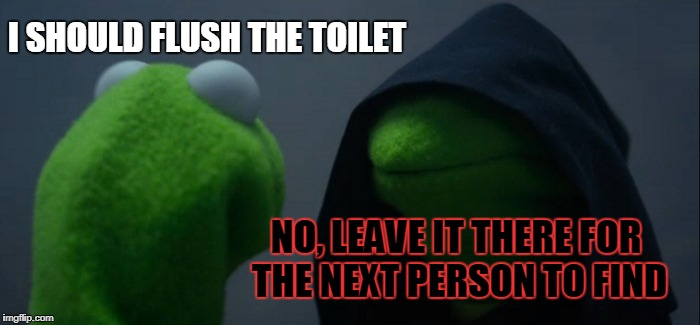 Evil Kermit Meme | I SHOULD FLUSH THE TOILET NO, LEAVE IT THERE FOR THE NEXT PERSON TO FIND | image tagged in memes,evil kermit | made w/ Imgflip meme maker