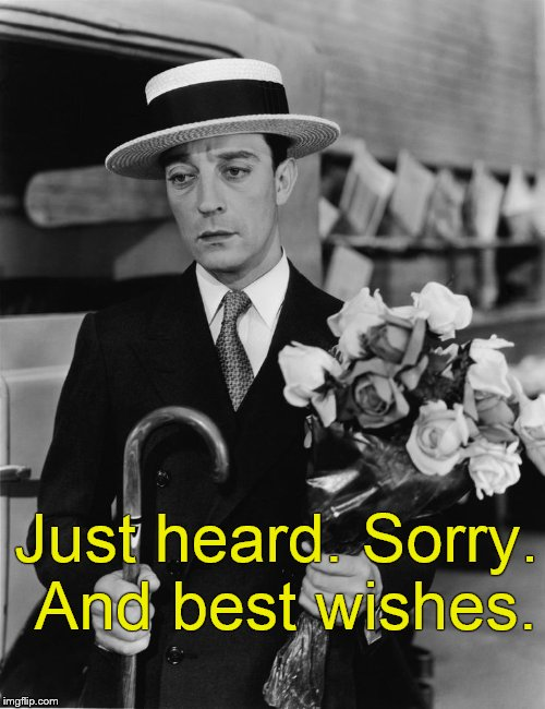 kiss & make up, Buster | Just heard. Sorry. And best wishes. | image tagged in kiss  make up,buster | made w/ Imgflip meme maker