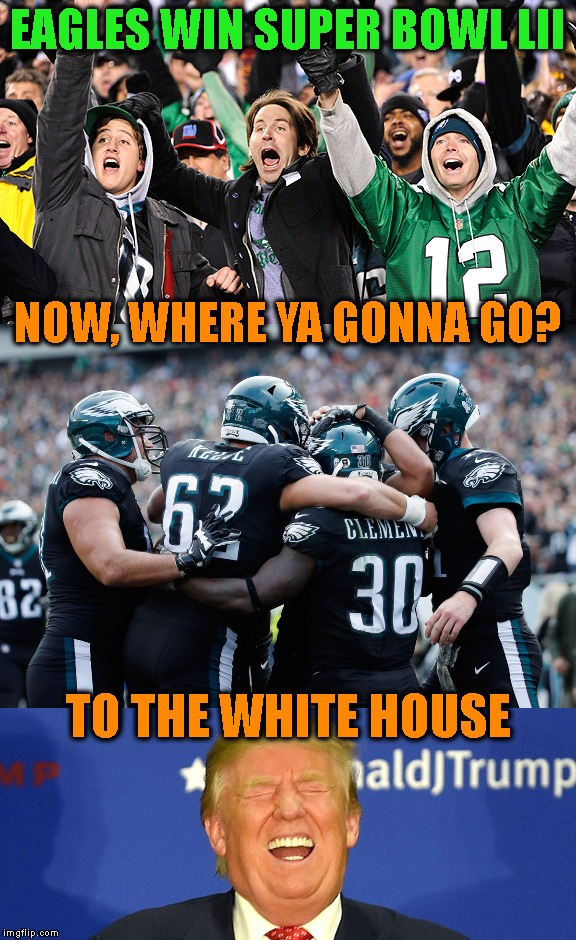 Oh! That'll Let The Air Out Of Your Balls | EAGLES WIN SUPER BOWL LII TO THE WHITE HOUSE NOW, WHERE YA GONNA GO? | image tagged in super bowl,super bowl 52,new england patriots,nfl football,winning,philadelphia eagles | made w/ Imgflip meme maker