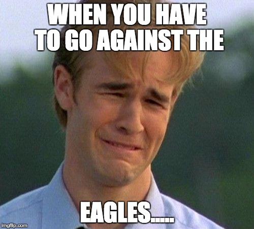 1990s First World Problems Meme | WHEN YOU HAVE TO GO AGAINST THE EAGLES..... | image tagged in memes,1990s first world problems | made w/ Imgflip meme maker