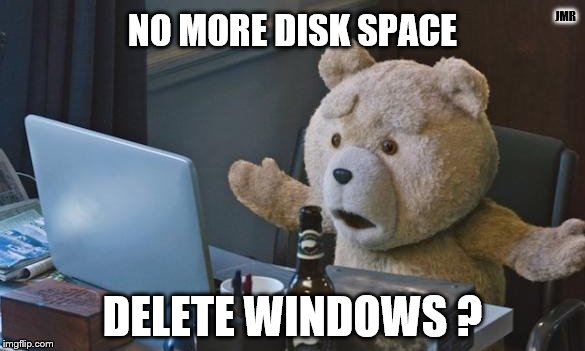 Huh..what? | JMR DELETE WINDOWS ? NO MORE DISK SPACE | image tagged in ted 2 computer,computer error,teddy bear,surprise,windows,microsoft | made w/ Imgflip meme maker