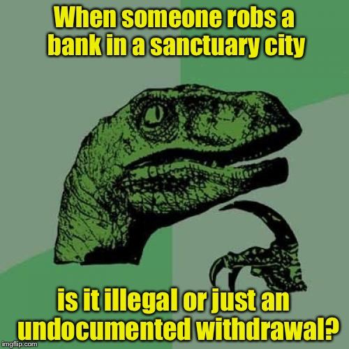 Philosoraptor Meme | When someone robs a bank in a sanctuary city is it illegal or just an  undocumented withdrawal? | image tagged in memes,philosoraptor,illegal immigration,hypocrisy | made w/ Imgflip meme maker