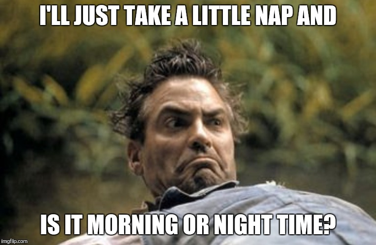 Clooney hair | I'LL JUST TAKE A LITTLE NAP AND IS IT MORNING OR NIGHT TIME? | image tagged in clooney hair | made w/ Imgflip meme maker