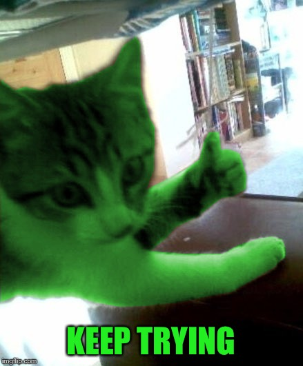 thumbs up RayCat | KEEP TRYING | image tagged in thumbs up raycat | made w/ Imgflip meme maker