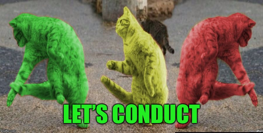 Three Dancing RayCats | LET'S CONDUCT | image tagged in three dancing raycats | made w/ Imgflip meme maker