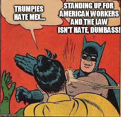 Batman Slapping Robin Meme | TRUMPIES HATE MEX... STANDING UP FOR AMERICAN WORKERS AND THE LAW ISN'T HATE, DUMBASS! | image tagged in memes,batman slapping robin | made w/ Imgflip meme maker