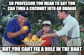 Make the possable impossible is the key | SO PROFESSOR YOU MEAN TO SAY YOU CAN TURN A COCONUT INTO AN ORANGE BUT YOU CANT FIX A HOLE IN THE BOAT | image tagged in memes,orange,gilligan's island,it will be fun they said | made w/ Imgflip meme maker