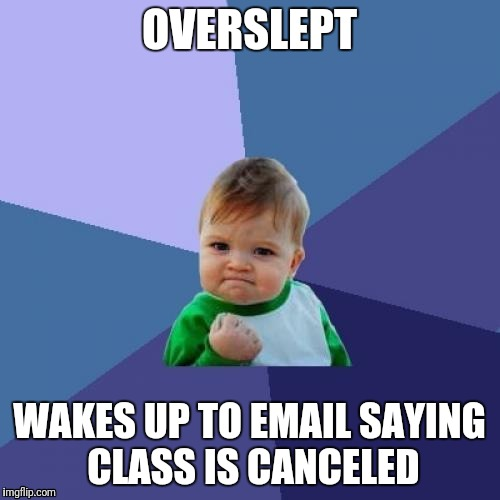 Heck Yeah | OVERSLEPT WAKES UP TO EMAIL SAYING CLASS IS CANCELED | image tagged in memes,success kid | made w/ Imgflip meme maker