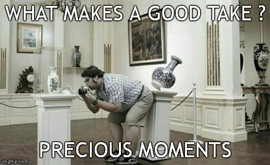 Precious Take | WHAT MAKES A GOOD TAKE ? PRECIOUS MOMENTS | image tagged in memes,photographer,photo of the day,overweight,shit happens | made w/ Imgflip meme maker