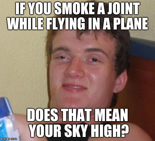 10 Guy | IF YOU SMOKE A JOINT WHILE FLYING IN A PLANE DOES THAT MEAN YOUR SKY HIGH? | image tagged in memes,10 guy | made w/ Imgflip meme maker