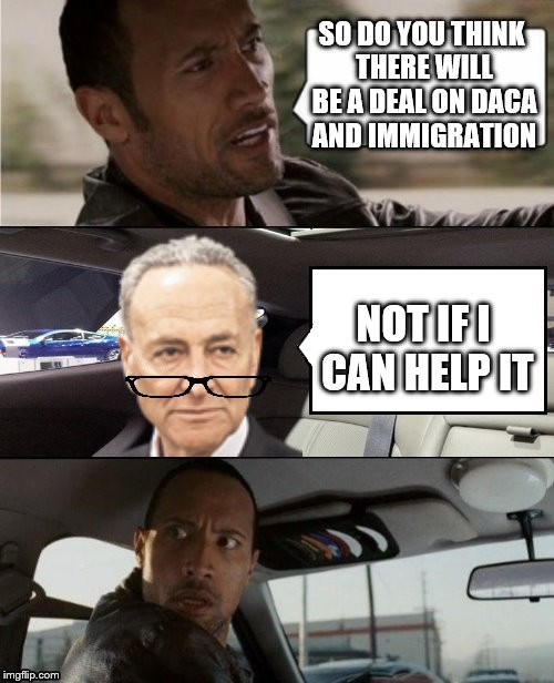 Stay tuned for shutdown part II.  | SO DO YOU THINK THERE WILL BE A DEAL ON DACA AND IMMIGRATION NOT IF I CAN HELP IT | image tagged in the rock driving blank 2,chuck schumer,memes | made w/ Imgflip meme maker