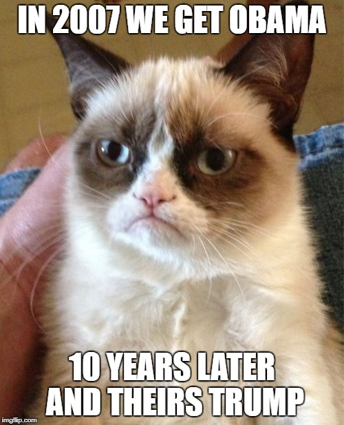 Grumpy Cat Meme | IN 2007 WE GET OBAMA 10 YEARS LATER AND THEIRS TRUMP | image tagged in memes,grumpy cat | made w/ Imgflip meme maker