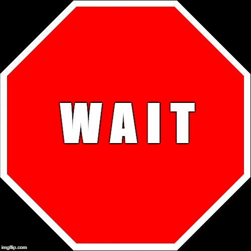 blank stop sign | W A I T | image tagged in blank stop sign | made w/ Imgflip meme maker