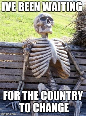 Waiting Skeleton Meme | IVE BEEN WAITING FOR THE COUNTRY TO CHANGE | image tagged in memes,waiting skeleton | made w/ Imgflip meme maker