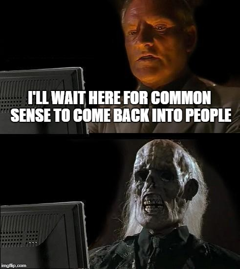 Ill Just Wait Here Meme | I'LL WAIT HERE FOR COMMON SENSE TO COME BACK INTO PEOPLE | image tagged in memes,ill just wait here | made w/ Imgflip meme maker