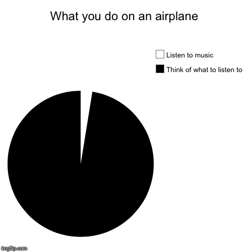What you do on an airplane | Think of what to listen to, Listen to music | image tagged in funny,pie charts | made w/ Imgflip pie chart maker