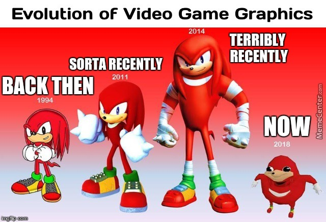 Evolution of Knuckles Graphics (taken from MemeCenter.com) | NOW BACK THEN SORTA RECENTLY TERRIBLY RECENTLY | image tagged in memes,uganda knuckles,knuckles,dank memes,judgy | made w/ Imgflip meme maker