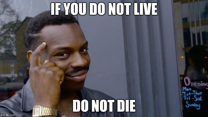 Roll Safe Think About It Meme | IF YOU DO NOT LIVE DO NOT DIE | image tagged in memes,roll safe think about it | made w/ Imgflip meme maker