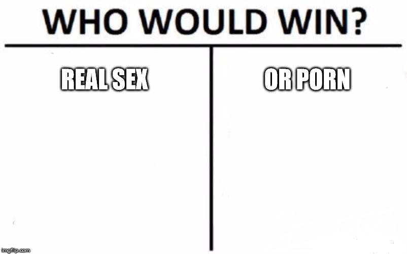 Who Would Win? Meme | REAL SEX OR PORN | image tagged in memes,who would win | made w/ Imgflip meme maker