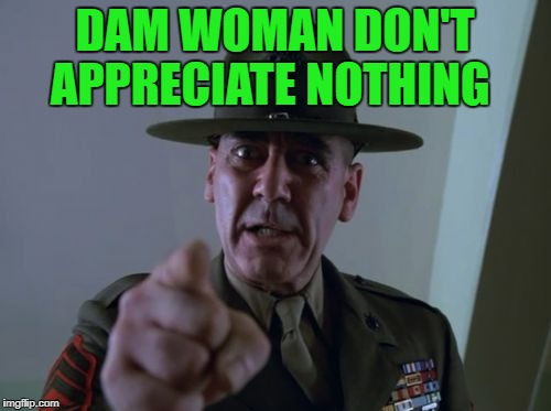 sarge  | DAM WOMAN DON'T APPRECIATE NOTHING | image tagged in sarge | made w/ Imgflip meme maker