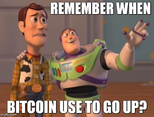 X, X Everywhere Meme | REMEMBER WHEN BITCOIN USE TO GO UP? | image tagged in memes,x,x everywhere,x x everywhere | made w/ Imgflip meme maker