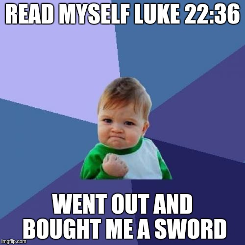 Success Kid Meme | READ MYSELF LUKE 22:36 WENT OUT AND BOUGHT ME A SWORD | image tagged in memes,success kid | made w/ Imgflip meme maker