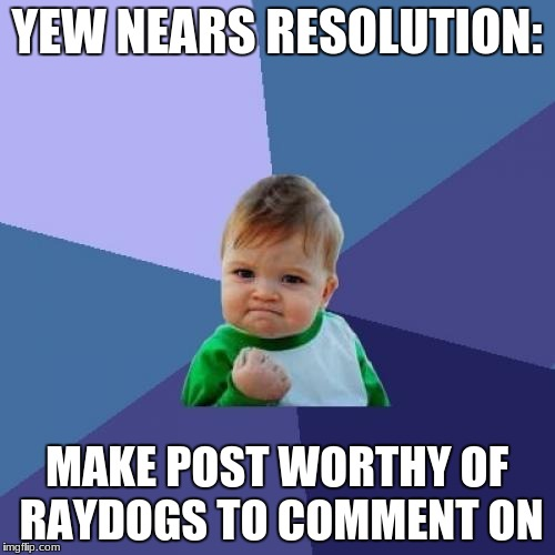 Success Kid Meme | YEW NEARS RESOLUTION: MAKE POST WORTHY OF RAYDOGS TO COMMENT ON | image tagged in memes,success kid | made w/ Imgflip meme maker