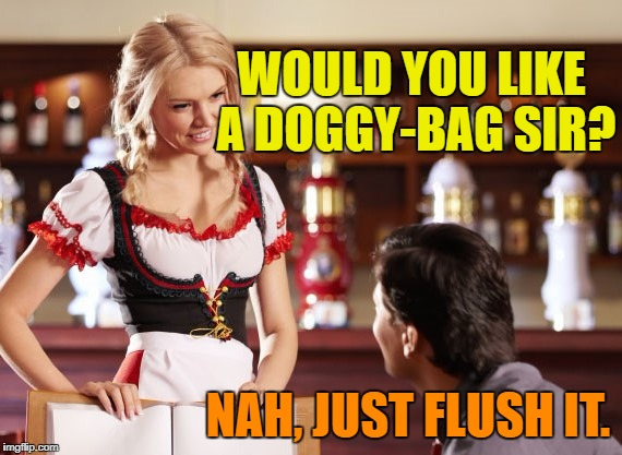 WOULD YOU LIKE A DOGGY-BAG SIR? NAH, JUST FLUSH IT. | made w/ Imgflip meme maker