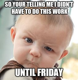 When the Teacher tells you.... | SO YOUR TELLING ME I DIDN'T HAVE TO DO THIS WORK UNTIL FRIDAY | image tagged in memes,skeptical baby | made w/ Imgflip meme maker