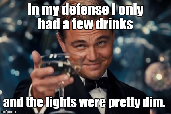 Leonardo Dicaprio Cheers Meme | In my defense I only had a few drinks and the lights were pretty dim. | image tagged in memes,leonardo dicaprio cheers | made w/ Imgflip meme maker