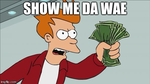 Shut Up And Take My Money Fry Meme | SHOW ME DA WAE | image tagged in memes,shut up and take my money fry | made w/ Imgflip meme maker