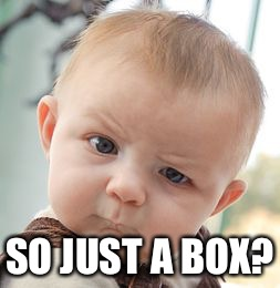 Skeptical Baby Meme | SO JUST A BOX? | image tagged in memes,skeptical baby | made w/ Imgflip meme maker