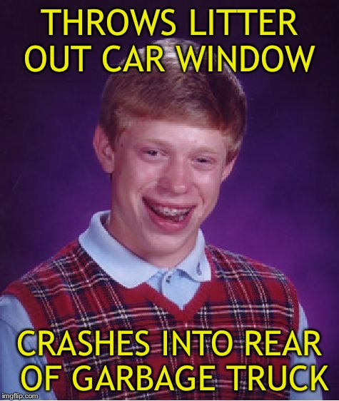 An ironic distraction. | THROWS LITTER OUT CAR WINDOW CRASHES INTO REAR OF GARBAGE TRUCK | image tagged in memes,bad luck brian,funny,garbage | made w/ Imgflip meme maker