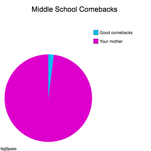 Middle school comebacks | Middle School Comebacks | Your mother, Good comebacks | image tagged in pie charts,middle school,comebacks,so true | made w/ Imgflip pie chart maker