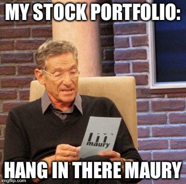 Should level off now, should. | MY STOCK PORTFOLIO: HANG IN THERE MAURY | image tagged in memes,maury lie detector,funny,stock market | made w/ Imgflip meme maker